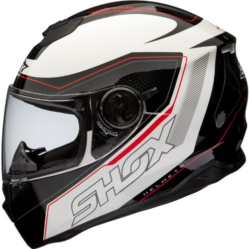 Shox Assault Tracer Integral Motorrad Helm S Schwarz/Weiß/Rot