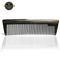 Eyros comb and beard comb made of horn and sandalwood, handmade, for long durability