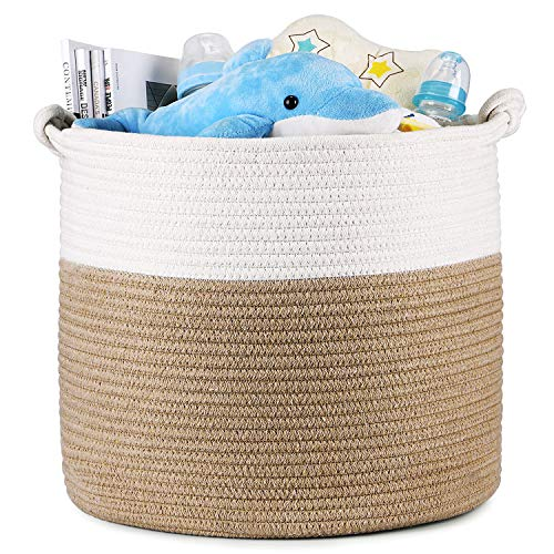 Magicfly Cotton Rope Laundry Baskets 15 X 15 X 14 Inch Large Tall Baby Nursery Organizer Toys and Baby Woven Storage Blankets Basket in Living Room Baby Nursery and Kids Room Beige amp White