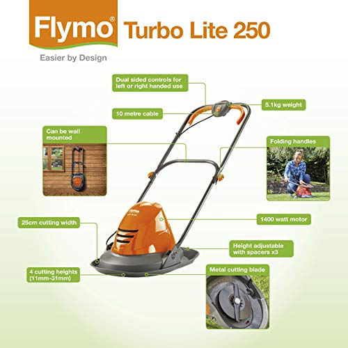 Flymo Turbo Lite 250 Electric Hover Lawn Mower u2013 1400 W, 25 cm Cutting Width, Ambidextrous Handles, Folds Flat Mowers & Outdoor Power Tools Garden & Outdoors