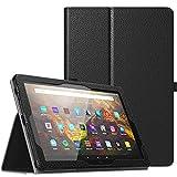 TiMOVO Funda para All-New Fire HD 10 & Fire HD 10 Plus Tablet (10.1', 11th Generation, 2021 Release), PU Cuero Ultra Slim Funda Función de Soporte Plegable (Auto Sueño/Estela), Negro