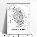 zhuifengshaonian Póster Mapa del Arte de la Lona de Barranquilla Bogotá Cartagena Medellín Colombia (ZW-1797) Sin Marco Poster 40x60cm