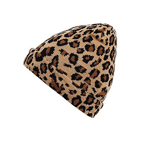 ALIKEEY Adulto Mujeres Hombres Invierno Leopardo Sombrero De Ganchillo Gorro De Punto Caliente Lana Pelo Largo Masculino Unisex Corto PiñAs Calaveras BañO