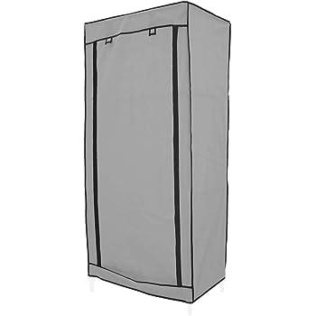 PrimeMatik - Armario ropero guardarropa de Tela Desmontable 70 x 45 x 155 cm Gris con Puerta Enrollable: Amazon.es: Electrónica