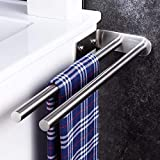 YIGII Handtuchhalter Zweiarmig Edelstahl 40 cm Handtuchstange Bad Doppelt Badetuchhalter Wandmontage