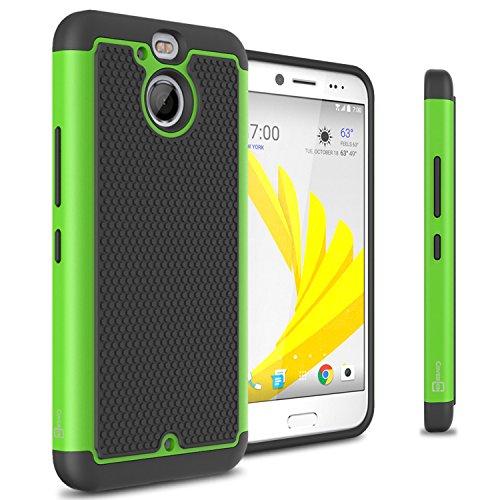 HTC Bolt Hard Case, HTC 10 Evo Case, CoverON HexaGuard Series Protective Hybrid Hard Phone Cover for HTC Bolt / 10 Evo - Neon Green