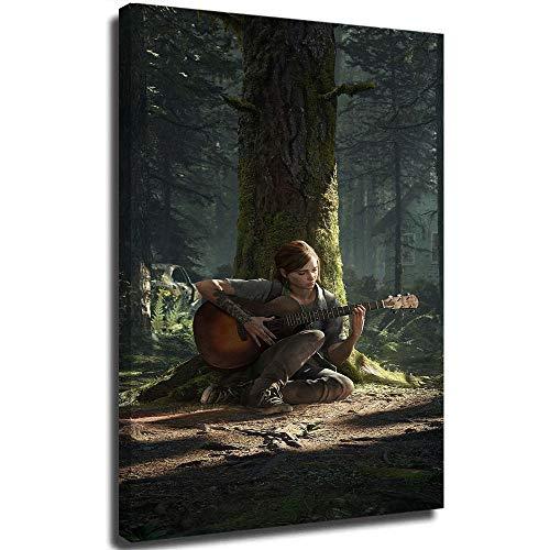 The Last of Us Part 2 - Póster de Ellie tocando guitarra, pintura al óleo, 20,3 x 30,5 cm, diseño moderno estirado y enmarcado