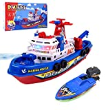 OSIAOIUDOA Baby Bath Toys , Light Up Pool Bathtub Toy Boat with Water Sprinkler Bath Toys for Kids Ages 4-8(Includes 2 Boat)