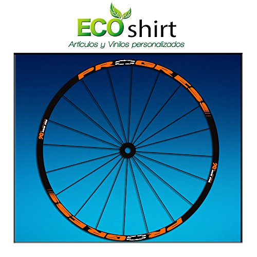 Ecoshirt BQ-BEP7-6YPY Pegatinas Stickers Llanta Rim Progress Xcd EVO Am44 MTB Downhill, Naranja 29'