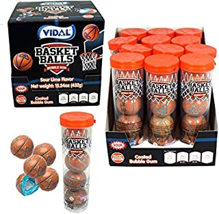 Vidal Basketball Sour Bubble Gum, 12 Tubes, (4) Gumballs in each Tube