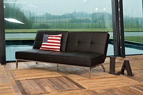 lifestyle4living Schlafsofa, Sofa, schwarz Kunstleder inkl. Beinen aus verchromten Stahl und Ziernähten, Maße: B/H/T ca. 198/89/95 cm