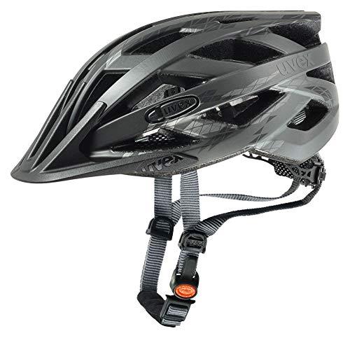 Uvex I-Vo CC Casco de Ciclismo, Unisex Adulto, Black-Smoke Mat, 52-57 cm