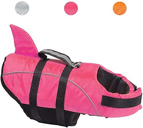 Avanigo Dog Life Jacket Shark Dog Swimming Vest (M, Rose)