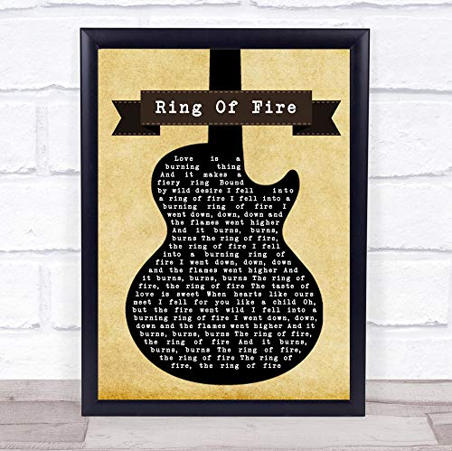 TOLAKA STORE #Johnny #Cash #Ring of Fire Black Guitar Song Lyric Wall Art Print Poster Wall Art Home Decor Gifts for Lovers Painting