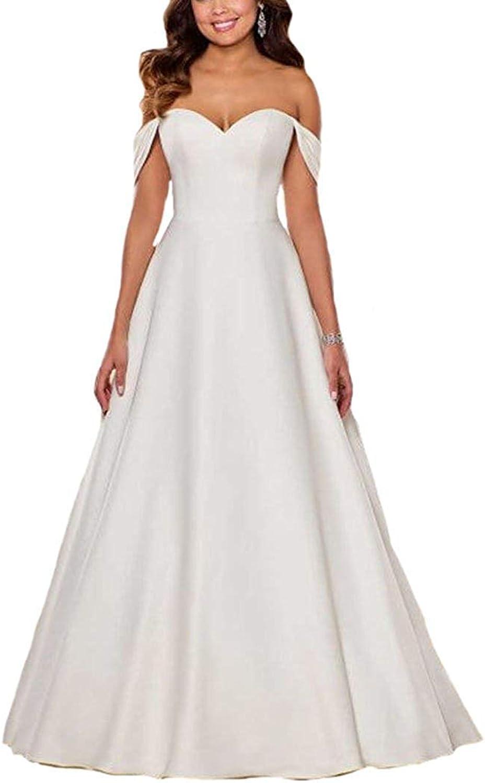 XSWPL Women's Off the shoulder Sweetheart Satin Wedding Dresses for Women 2019 Long