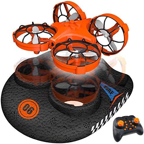 RC TECNIC Hovercraft Teledirigido - Vehículo 3 en 1 (Tierra, Agua y Aire) Mini Drone para Niños y Barco Radiocontrol Lancha de Juguete, Regalo Navidad