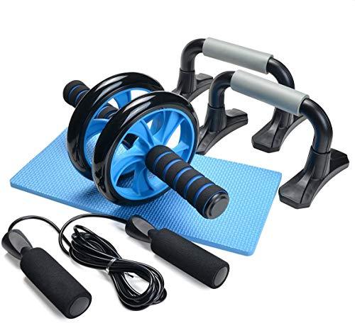 Odoland Bauchroller Set 4 IN 1 AB Roller Bauchtrainer Fitnessset mit Liegestützgriffe Springseil Kniematte für Männer und Frauen zu Hause bauchmuskeltrainer Muskelkraft Fitness