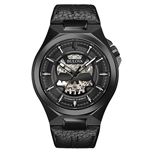 Bulova Classic Automatic Mens Stainless Steel with Black Leather StrapMaquina, Black (Model: 98A238)