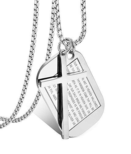 BESTEEL Edelstahl 3MM Dog Tags Kreuz Halskette für Herren Damen Gebet Kreuz Rolo Kabel Kette 61CM Weiß