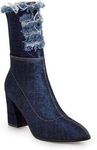 schuhe casuales Stiefel para damen Moda de Punto Grueso con Gran tamaño 34-43 Stiefel de Vaquero de Tubo con Cremallera Lateral