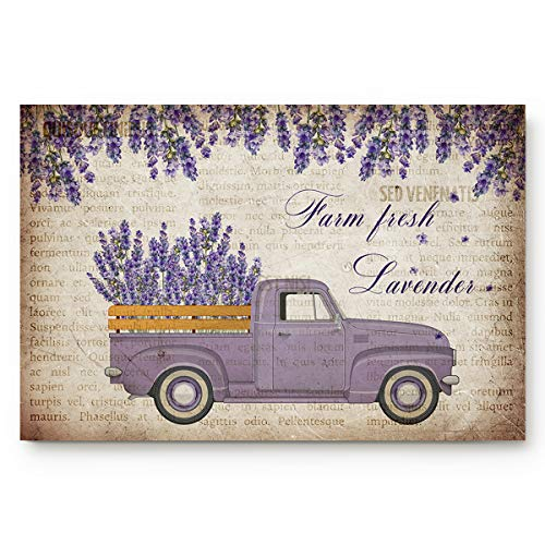 Home Door Mat with Non-Slip Backing, 20'x31.5' Front Door Outdoor Carpet Rug, Purple Lavender Flower and Farm Truck Retro Newspaper Kitchen and Bedroom Floor Mats Bath Mat for All Season Family Use