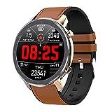 HQPCAHL Smartwatch, IP68 Impermeable Reloj Inteligente con Cronómetro, Pulsera Actividad Inteligente para Deporte, Reloj de Fitness con Monitor de Sueño, Oxígeno Sanguíneo, Presión Arterial,Brown b