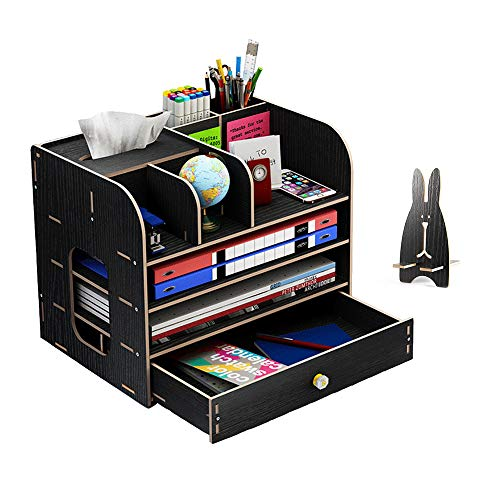 Organizador de escritorio grande de madera con soporte para lápices, cajones de escritorio, para oficina, hogar y escuela, 32,5 x 26,5 x 22,5 cm, color negro