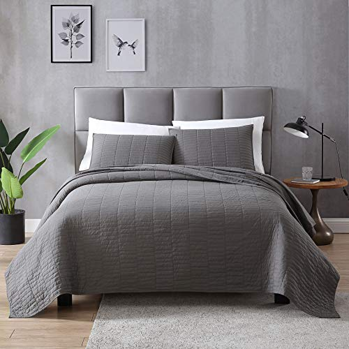 EXQ Home Quilt Set Full/Queen Size Grey 3 Piece,Lightweight...