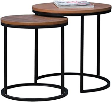 Wooden Top Nesting Tables, Set of 2 Coffee Table Side Table End Table