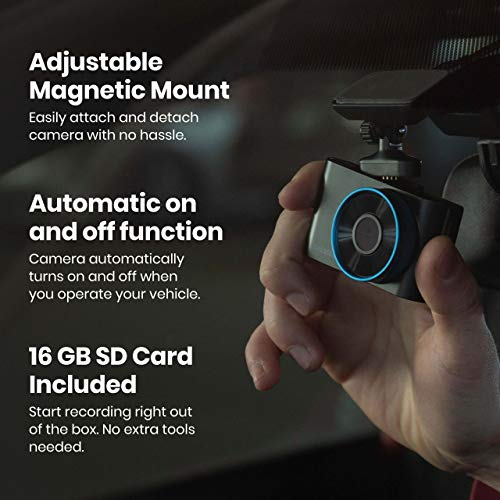 SYLVANIA - Roadsight Plus Dash Camera - 120 Degree View, HD 1080p, 16GB SD Memory Card Included, Loop Recording, G-Sensor, 2 inch LED IPS Screen, Parking Mode, Night Vision, Mobile App, Taxi, Car