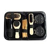 LXDDP 8 STÜCKE Tragbare Schuhputzset Schwarz & Transparent Pinsel Set für Stiefel Schuhpflege Komplettreiniger Kit Reinigungswerkzeuge