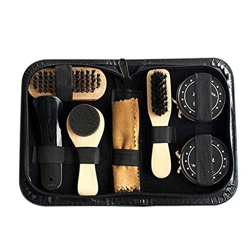 GUOOK 8PCS Kit Cuidado Brillo Zapatos PortáTil Juego Cepillos Negro Y Transparente para Botas Kit Limpieza Completa Cuidado Zapatos MultifuncióN