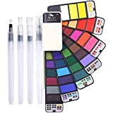 Watercolor Paint Set, Artist Foldable Watercolor Paint Set with Water Brush for Field