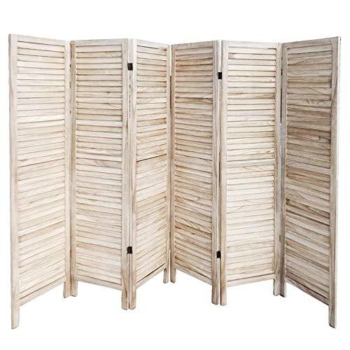 Popamazing Raumteiler / Paravent / Sichtschutz, aus 6Paneelen, mit Holz-Lamellen von Popamazing