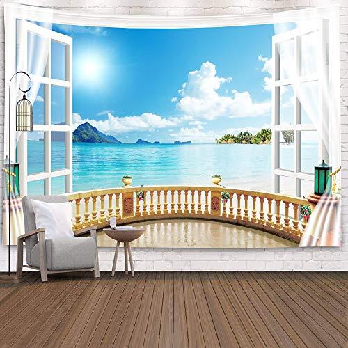 WERT Tapiz de Ventana Vista Plantas Verdes Flor de mar en 3D Manta para Colgar en la Pared Colcha Toalla de Yoga Decoración de la Pared de la Playa Tapiz A24 73x95cm