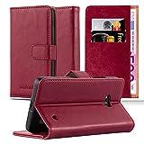 Cadorabo Hülle für Nokia Lumia 640 in Wein ROT – Handyhülle mit Magnetverschluss, Standfunktion & Kartenfach – Hülle Cover Schutzhülle Etui Tasche Book Klapp Style