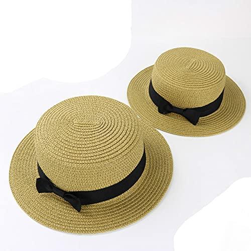 Shihuawu Sombrero de Playa de Verano para Mujer Sombrero para el Sol Sombrero de Paja Popular Sombrero de Calle Sombrero de Paja Hecho a Mano-marrón claro-adulto-G0807