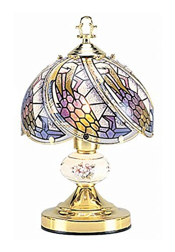 OK Lighting OK-606-4G Touch Lamp with Tiffany Glass Floral Theme, 10' x 10' x 14', Gold