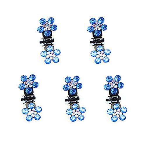 Belle bijoux filles fleurs clips cheveux, Mini 5 Count, Deep Blue