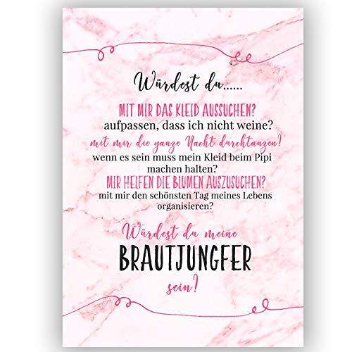 """A6 Postkarte """"Willst du meine Brautjungfer sein?"""" in marmor/rosa Glanzoptik Papierstärke 235 g / m2 Geschenk für Schwester - Freundin, Trauzeugin zur Hochzeit"""