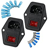 URBEST 2 Pack Male Power Socket 10A 250V Inlet Module Plug 5A Fuse Switch with 14Pcs Female 16-14 AWG Wiring Spade Crimp Terminals