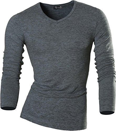jeansian Hommes Mode Manche Longue T-Shirts Men's Casual O Neck T-Shirt Slim Fit Long Sleeve Winter Underwear Top Tee LA126 Gray S