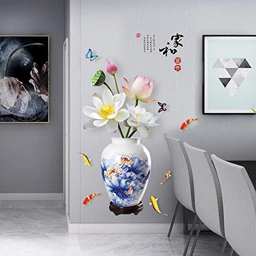 Chinesische Haus- und Vermögenssimulation Vase Lotus Schlafzimmer Wohnzimmer abnehmbare Wandaufkleber 60 * 90CM