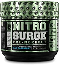 NITROSURGE Pre Workout Supplement - Energy Booster, Instant Strength Gains, Clear Focus, Intense Pumps - Nitric Oxide Booster & Powerful Preworkout Energy Powder - 30 Servings, Blue Raspberry