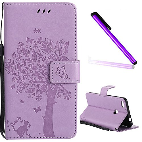 HUAWEI P8 Lite 2017 Cover EMAXELER Diamond Embossed Stylish Kickstand Case Credit Cards Slot Cash Pockets PU Leather Flip Wallet Case For HUAWEI P8 Lite 2017 Wish Tree Light Purple