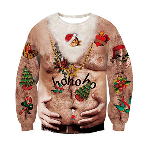 RAISEVERN Weihnachten Party hässlich Langarm Jumper lustige Halskette grafische Pullover Pullover Katze 2XL