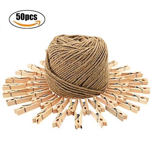 Ficelle String et 50 COPS Mini Wooden Pegs Making Arts Crafts Cadeau faire Jardinage
