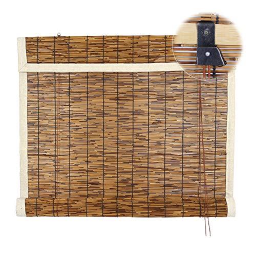 SUNSHADE Persianas Romanas, Persiana Enrollable de Bambú Estores, Persianas Enrollables con Filtro de Luz, Protección de Bordes de Tela