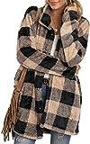 Abrigo de invierno para mujer, de piel sintética, suave, cálido, de manga larga, con botones, estampado a cuadros Plaid A - Caqui XXL
