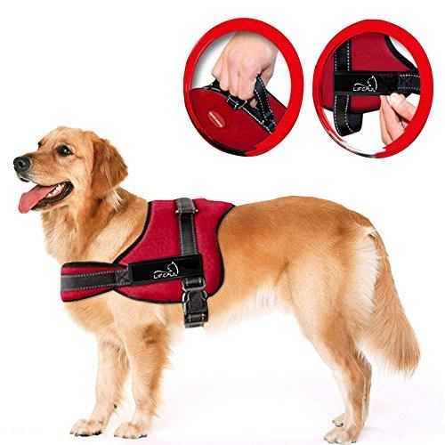 Lifepul Powergeschirr Brustgeschirr für aktive Hunde, Hals- und Schulterbereich weich gepolstert Größe M, rot